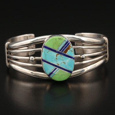 Michael Tahe Navajo Diné Sterling Turquoise, Lapis Lazuli and Gaspeite Cuff