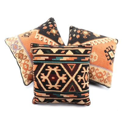 Chenille Kilim Rug Motif Throw Pillows