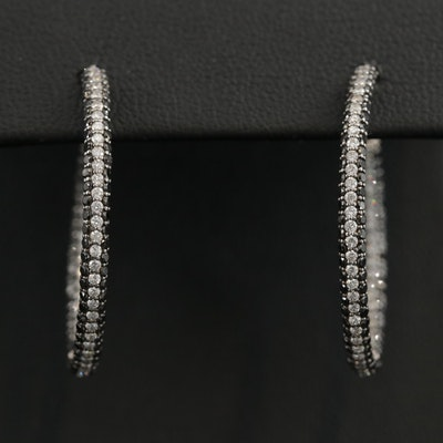 Spark 18K White Gold 2.24 CTW Diamond Hoop Earrings With 14K Gold Findings