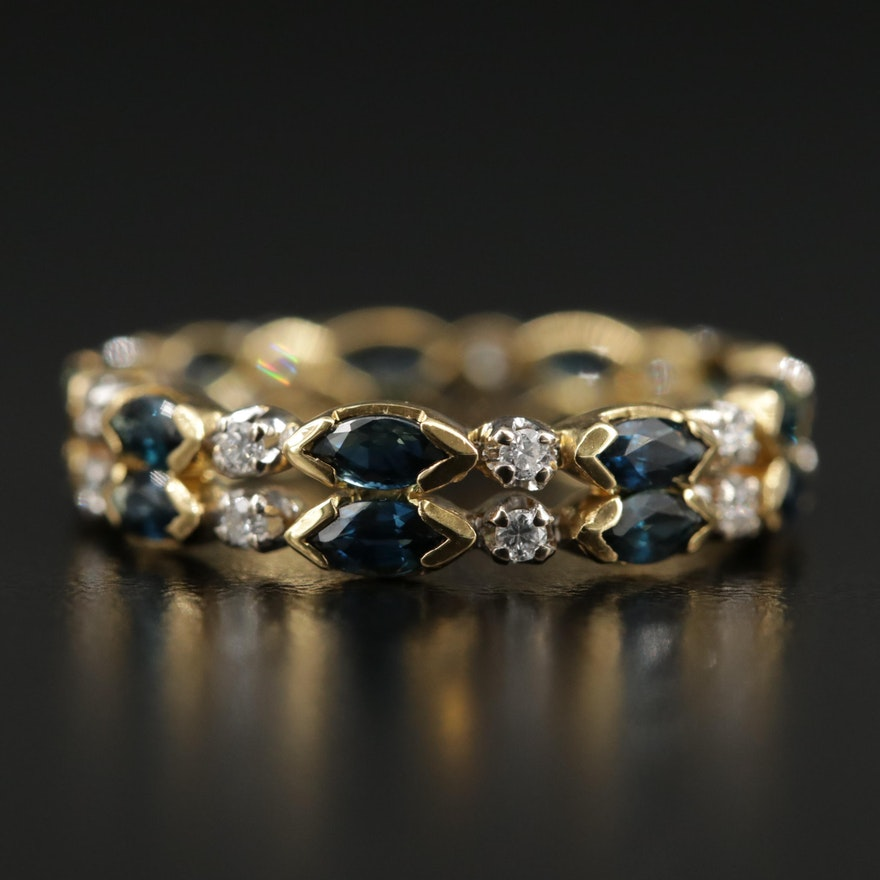 18K Yellow Gold Sapphire and Diamond Eternity Band