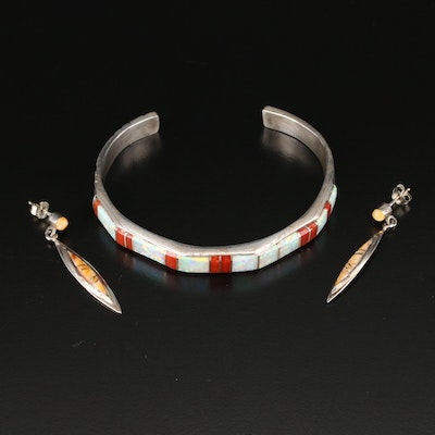 Southwestern Sterling Inlay Cuff and Earrings with Coral and Synthetic Opal