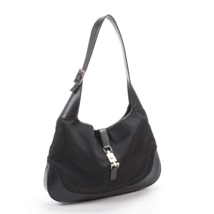 Gucci Black Nylon and Leather Jackie Shoulder Bag with Push Lock Closure
