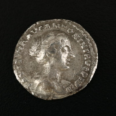 Ancient Roman Imperial AR Denarius of Faustina the Younger, ca. 145 A.D.