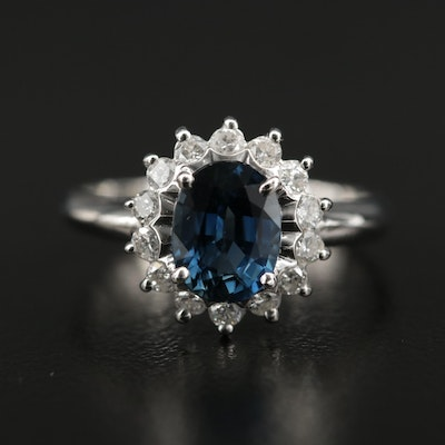 Platinum 1.50 CT Sapphire and Diamond Ring