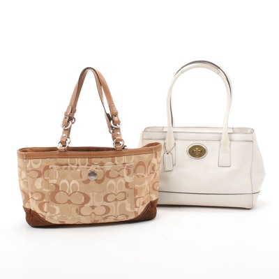 Coach Madeline White Leather Top Handle Bag and Optic Signature Shoulder Bag