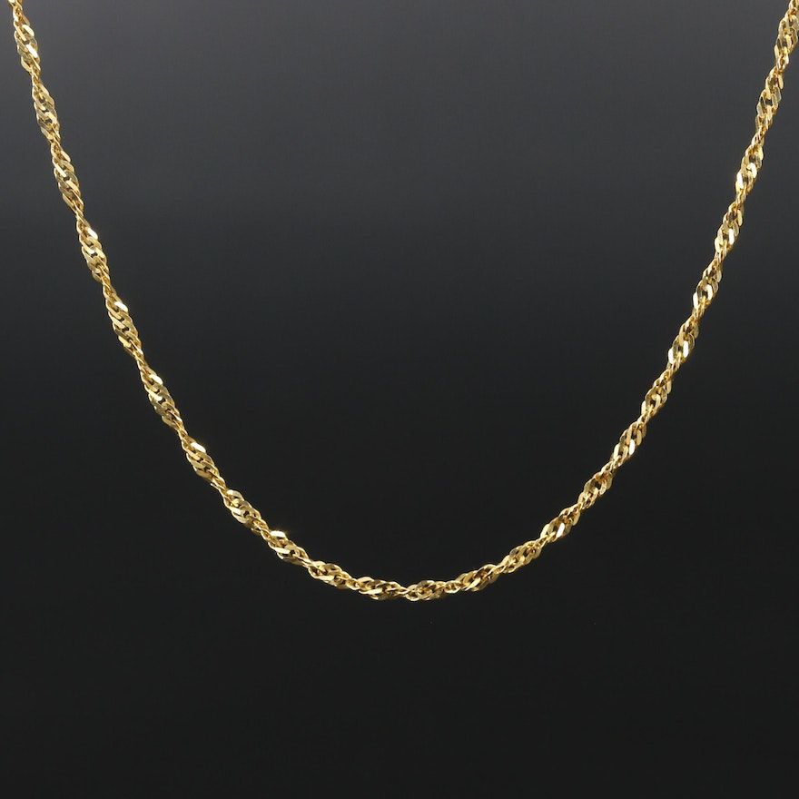 14K Yellow Gold Twisted Curb Chain Necklace