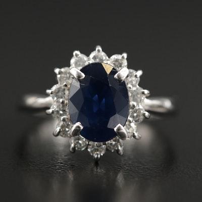 Platinum Sapphire and 0.49 CTW Diamond Ring