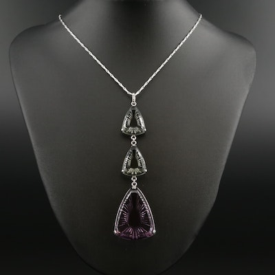 "Lalique ""Violet Ice Light"" Sterling Silver Crystal Drop Pendant Necklace"