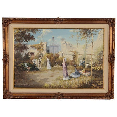Genre Painting of Victorian Croquet Game