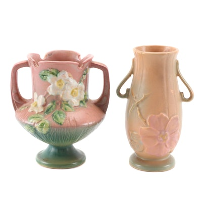Weller and Roseville Matte Glaze Earthenware Art Pottery Vases, Mid-20th Century