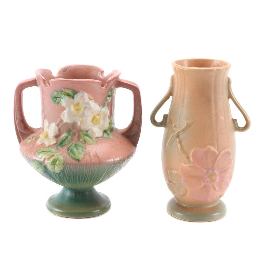 Weller and Roseville Matte Glaze Earthenware Art Pottery Vases, Mid-20th Century