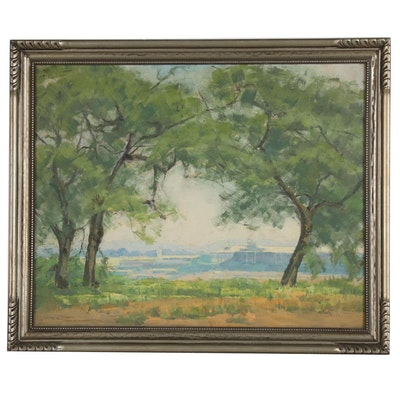 Impressionist Oil Painting with Trees, 20th Century