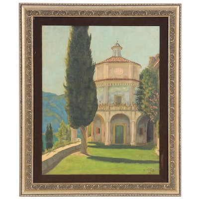 Italian Landscape with Tempietto Oil Painting, 1927