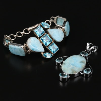 Larimar Bracelet and Pendant with Sterling, Cubic Zirconia and Glass