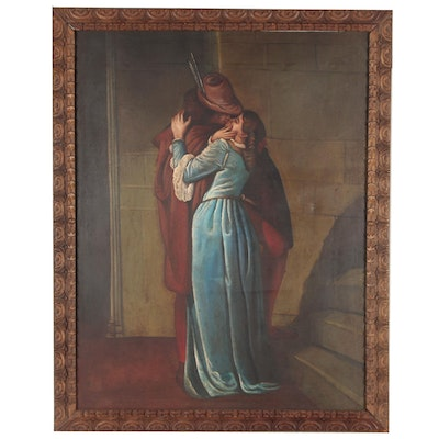 """Monumental Oil Painting after Francesco Hayez """"The Kiss"""", Late 20th Century"""