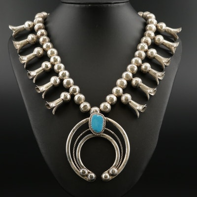 Lucian Koinva Hopi Sterling and Turquoise Squash Blossom Necklace