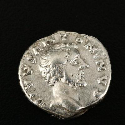 Ancient Roman Imperial Posthumous AR Denarius of Antoninus Pius, ca. 161 A.D.