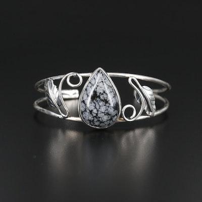 Southwestern Style Sterling Snowflake Obsidian Cuff
