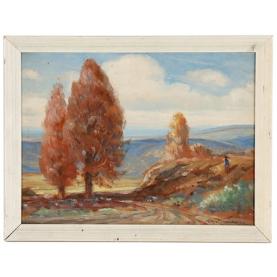 Impressionist Autumn Landscape Oil Painting, 20th Century