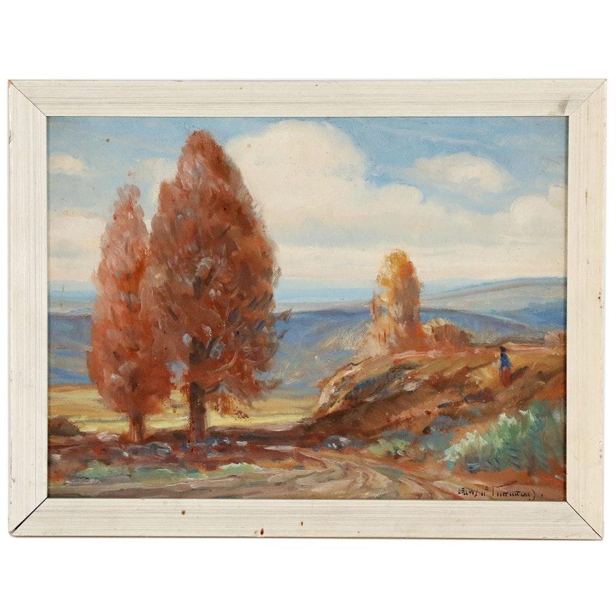 Impressionist Autumn Landscape Oil Painting, 20th Century