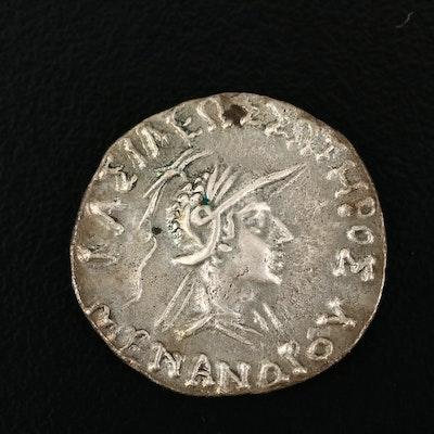 Ancient Baktria, Indo-Greek AR Drachm Coin of Menander I, ca. 155 B.C.