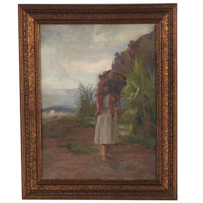Hodgkin Dixon Oil Painting Figural Coastal Scene, Early 20th Century