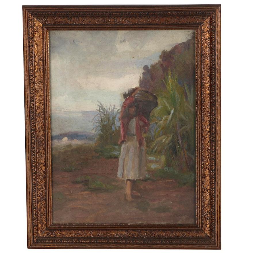 Hodgkin Dixon Oil Painting Figural Coastal Scene, Early 20th Century