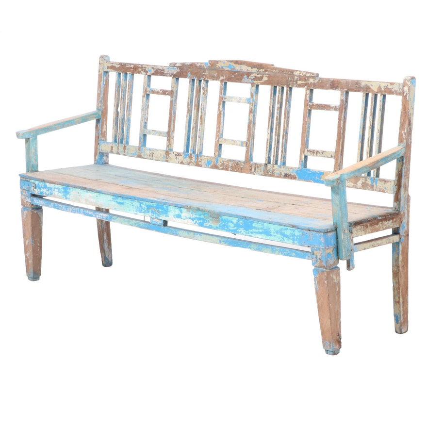 Holland Painted Elm Garden Bench, Early 20th Century