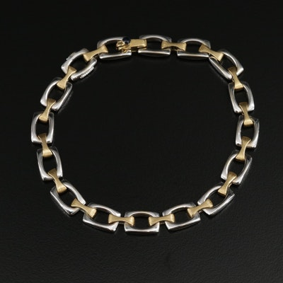 Chiampesan Alternating 18K Yellow and White Gold Link Bracelet