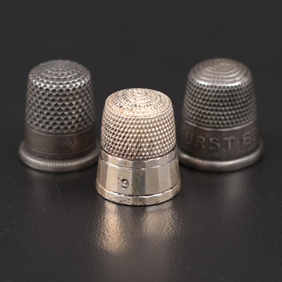 Sterling Silver and Silver Plate Thimbles Including Simons Brothers