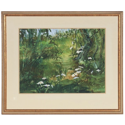Sharon Wesner Forest Scene with Wildflowers Watercolor Painting, 1971