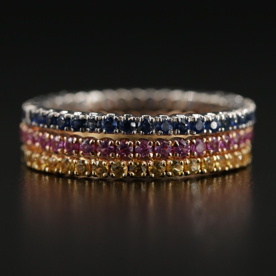 18K White, Yellow and Rose Gold Ruby and Sapphire Stacking Eternity Bands