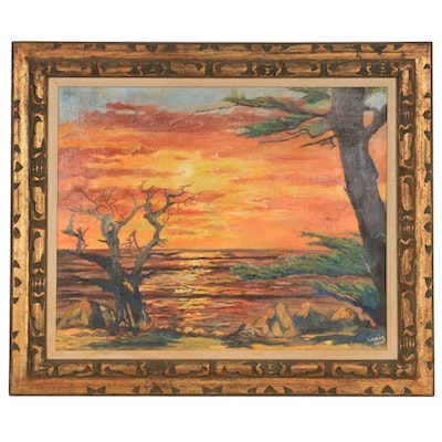 Late 20th Century Oil Painting of Coastal Landscape at Sunset