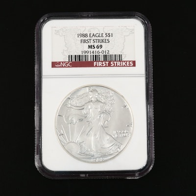 NGC Graded MS69 First Strike 1988 Silver Eagle Dollar