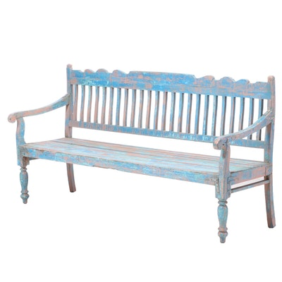 Holland Painted Pine Hall Bench, Early 20th Century