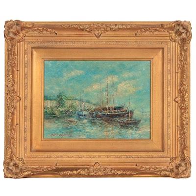 John Clymer Impressionist Style Harbor Scene Oil Painting