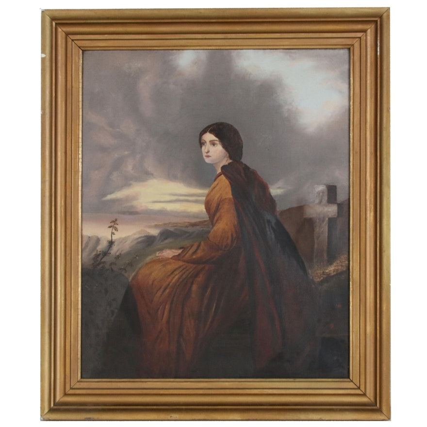 Portrait Oil Painting of a Woman in a Red Cape , Early 20th Century
