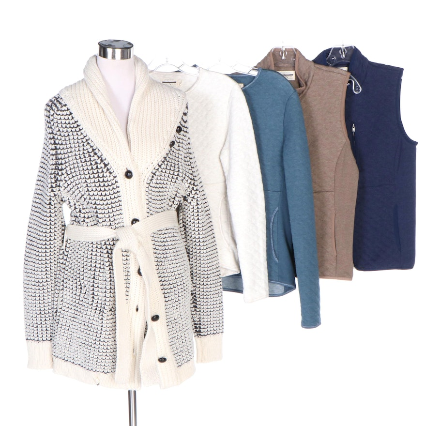 Guideboat Co. Shaniko Wool Shawl Collar Cardigan, Quilted Half-Zips and Vests