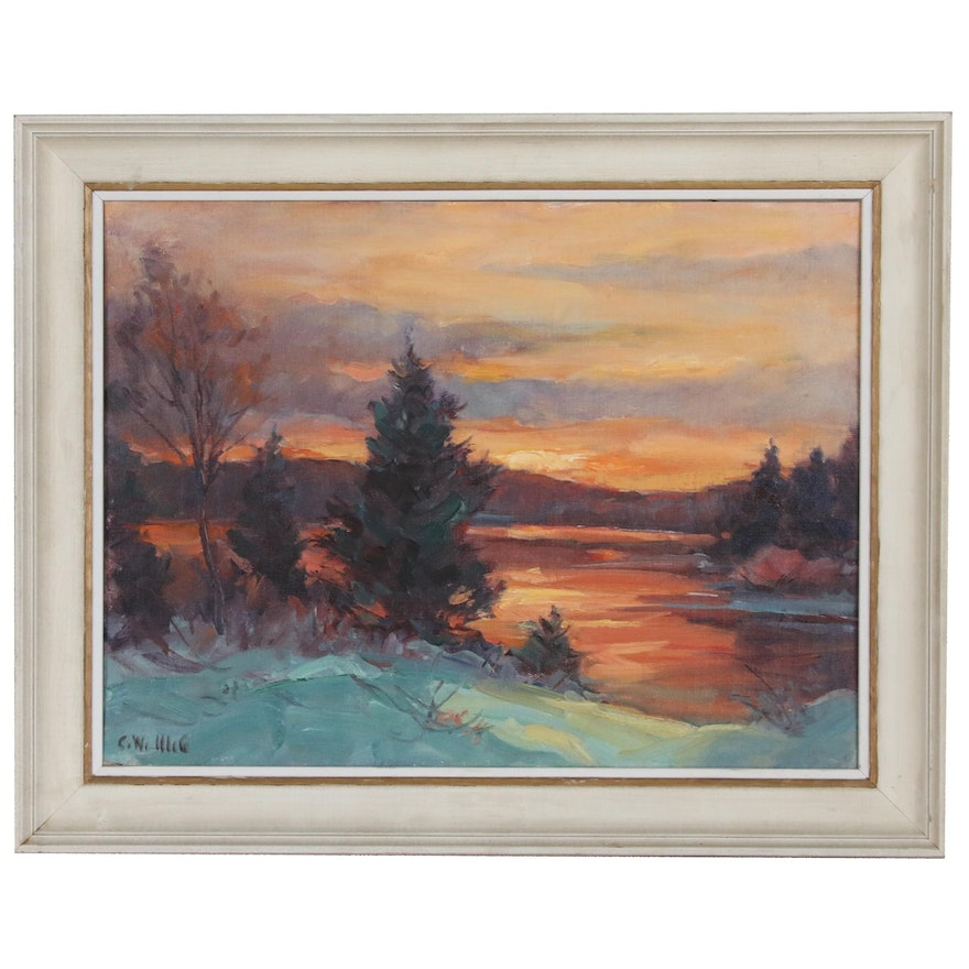 Carl W. Illig Winter Sunset Oil Painting, 20th Century