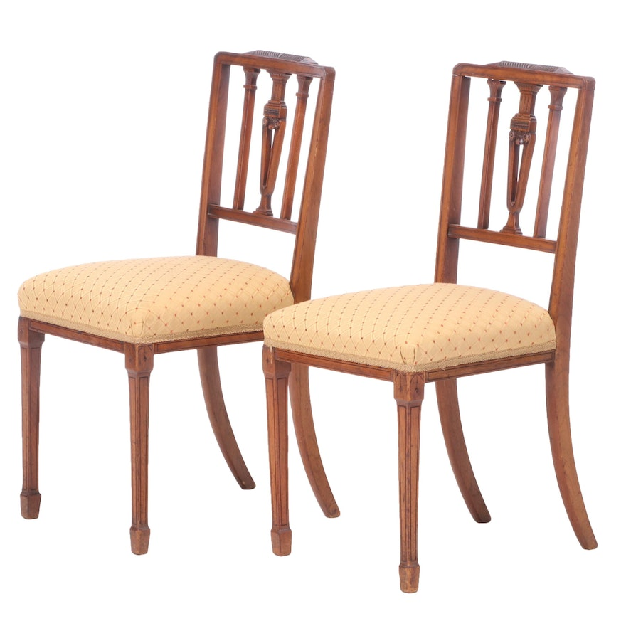 Pair of Edwardian, Hepplewhite Style Mahogany Side Chairs, Early 20th Century