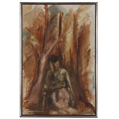 Abstract Oil Painting of a Man with Dog, Late 20th Century