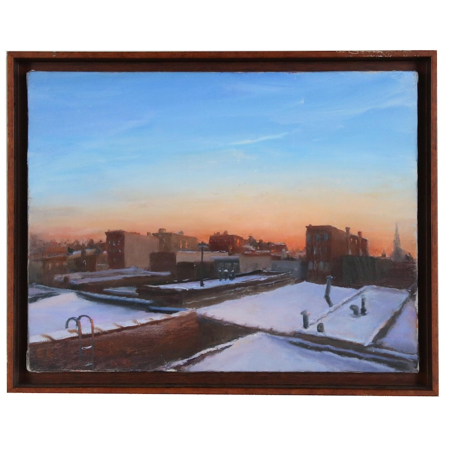 American Cityscape Oil Painting, Late 20th Century