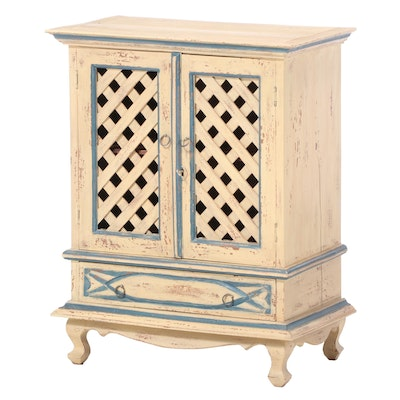 Contemporary Paint-Decorated Lattice-Front Cabinet