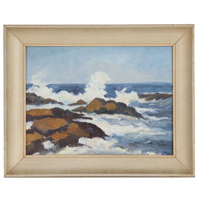 Seascape Oil Painting with Rocks, 20th Century