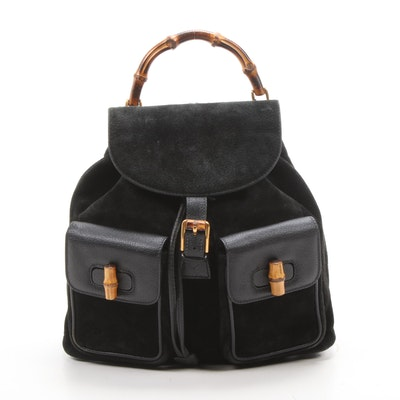 Gucci Bamboo Black Suede and Leather Drawstring Backpack
