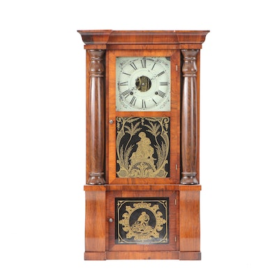 Seth Thomas 8 Day Pillar Mantel Clock with Reverse Glass Painting