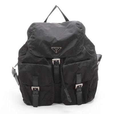 Prada Black Tessuto Nylon and Leather Drawstring Backpack