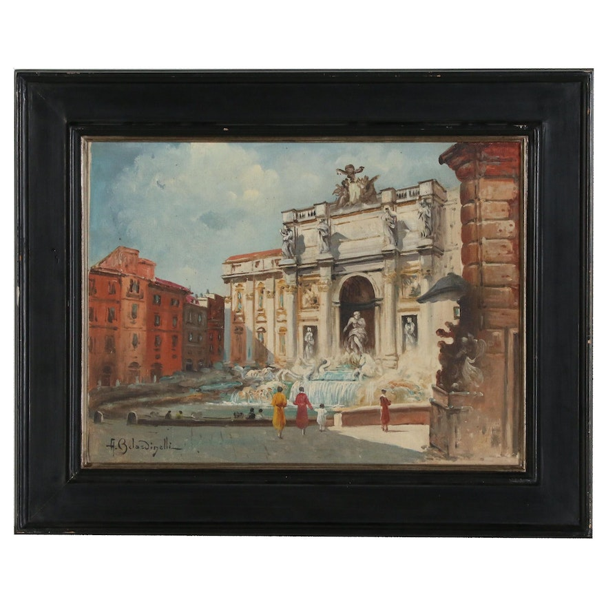 A. Belardinelli Oil Painting of the Trevi Fountain