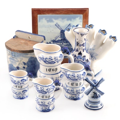 Delft Blue Ceramic Vases, Salt Box and Other Home Décor