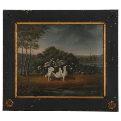 American Folk Art Oil Painting of Dog, 1826